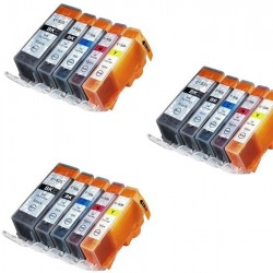 CANON PGI-525 CLI-526 : Lot 15 cartouches compatible pour Pixma IP4850 IP4950 IX 6550 MX715 MX885 MX895 MG5200 MG5250 PGI525