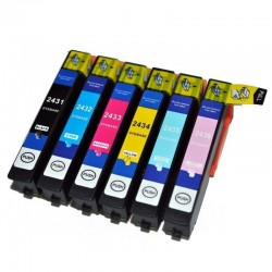 EPSON 24XL : Lot 6 cartouches compatible pour Expression Photo XP750 XP850 XP950 XP-750 XP-850 XP-950 - T2438