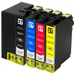 EPSON 27XL : Lot 4 cartouches compatible WorkForce WF3620 WF3640 WF7110 WF7610 WF7620 - T2711 T2712 T2713 T2714